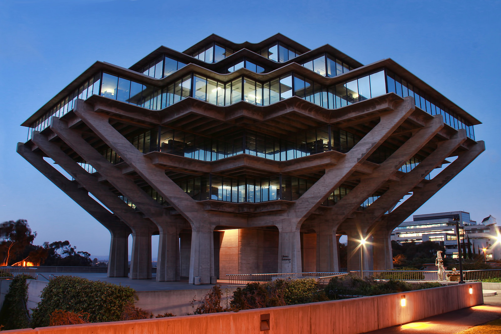 Night View of The Geisel Library, University of California San Diego