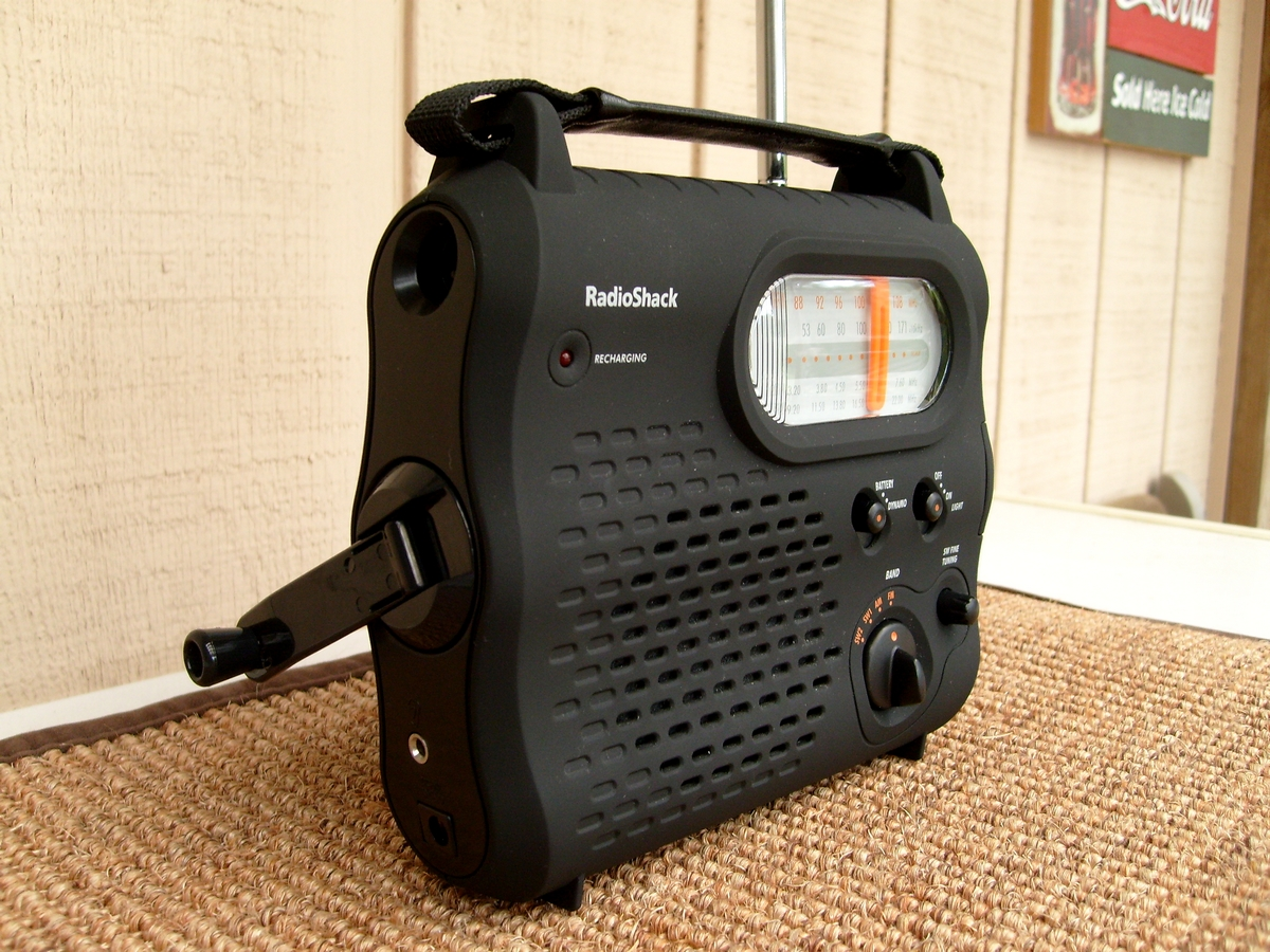 RadioShack 20-242: Hand crank for charging the battery pack. Also charges cell phones.